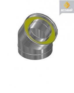 Колено нерж. (AISI 430/0,5мм) 2 секции 45* д.100