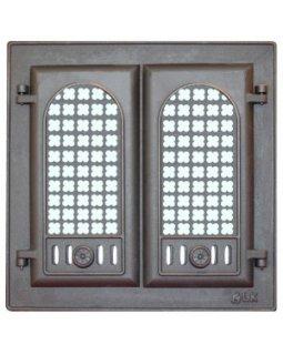 302 LK Дверца каминная 2-х створчатая с решеткой (410х410)