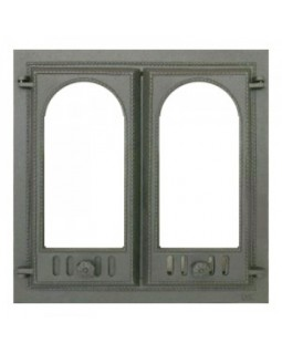 400 SVT каминная дверца со стеклом(двустворчатая) (500х500)