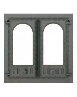 401 SVT каминная дверца со стеклом(двустворчатая) (410х410)