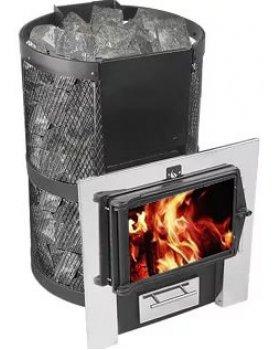 Банная печь КОНВЕКТИКА Кольчуга 14-18 (чугунная дверка со стеклом и парогенератором)