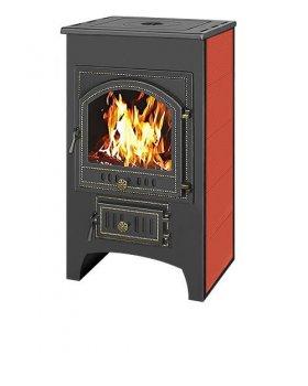 Печь-Камин Везувий ПК-01 (205)  с плитой красн.12 кВт (200 м3) Ø 150 мм