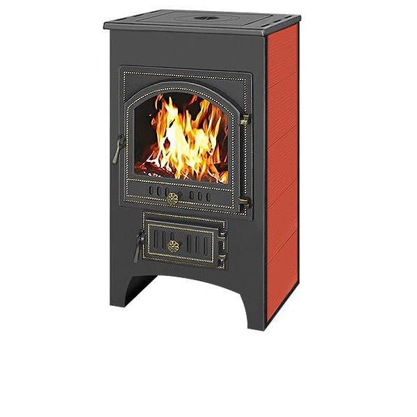 Печь-Камин ВЕЗУВИЙ ПК-01 (205)  с плитой красн.12 кВт (200 м3) ? 150 мм