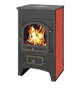 Печь-Камин Везувий ПК-02 (205)  с плитой  красный. 12 кВт (200 м3) Ø 150 мм