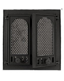126 НТТ каминная дверца со стеклом двухстворчатая (275х310)